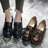 黑五好物節❤流蘇小皮鞋女2018秋季平底英倫學院風單鞋女韓版百搭牛津樂福鞋潮