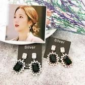 【KP】925 純銀 韓國 同款 韓劇 華麗寶石風 質感貴婦垂墜耳環 EA02049