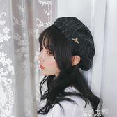 貝雷帽女夏季韓版百搭薄款格子蓓蕾帽日系秋冬天復古英倫畫家帽子 海角七號