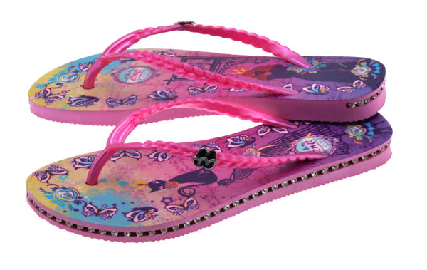 QWQ創意鞋-  Cat Princess 施華洛世奇水鑽夾腳人字拖鞋- 粉 (范特西系列 )