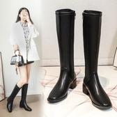 過膝靴 歐美方頭中跟騎士靴女氣質個性簡約高筒軍靴英倫風潮流粗跟長靴
