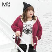 Miss38-(現貨)【A10671】北極絨 黑&紅 素面連帽T 拉鍊 加厚保暖 休閒 外套-中大尺碼