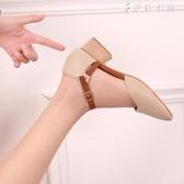 仙女包頭涼鞋女夏復古瑪麗珍粗跟奶奶鞋一字扣中跟單鞋子 伊鞋本鋪