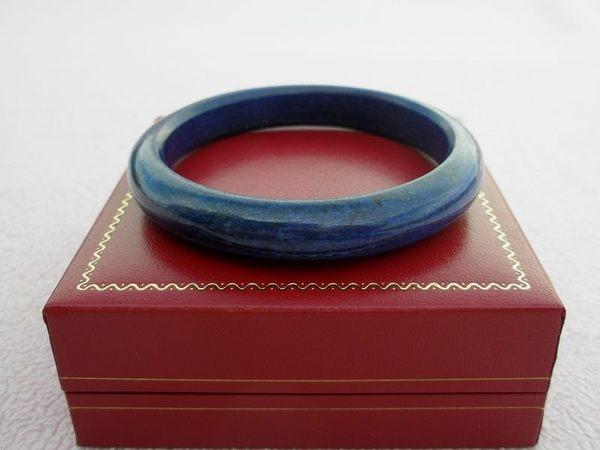 【歡喜心珠寶】【天然阿富汗寶藍色青金石手鐲】手環19圍「附珠寶保証書」點點金光招財運