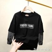 男童假兩件長袖T恤秋款新款韓版中大童兒童裝純棉體恤打底衫潮 晴天時尚館