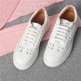 厚底五角星透氣學生小白鞋 粗跟軟底系帶休閒鞋《小師妹》sm1333