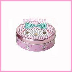 家用【asdfkitty】美樂蒂圓形亮鑽收納盒/置物盒/隨身藥盒-日本版正版