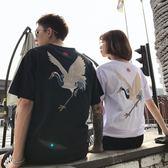 情侶裝 2019新款夏裝國潮短袖t恤男女中國風刺繡仙鶴寬鬆半袖情侶裝班服