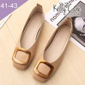 大尺碼女鞋-凱莉密碼-超柔軟淺口方扣奶奶鞋1cm(41-43)【ELN2-60】棕色