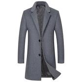 毛呢大衣-純色優雅修身羊毛中長版男風衣4色73wk15【巴黎精品】