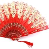 扇子1把摺扇中國風古典女式舞蹈扇和風永春扇夏季摺疊塑膠跳舞扇    麻吉鋪