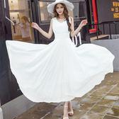 白色洋裝—夏季新款女裝雪紡連身裙背心超長款修身顯瘦波西米亞大擺長裙 korea時尚記