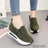 秋鞋女新款樂福鞋女平底鬆糕厚底休閒運動加絨保暖內增高女鞋