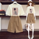 全場促銷95折 大碼哈倫女裝套裝女新款年夏季時尚韓范胖妹妹顯瘦減齡兩件套