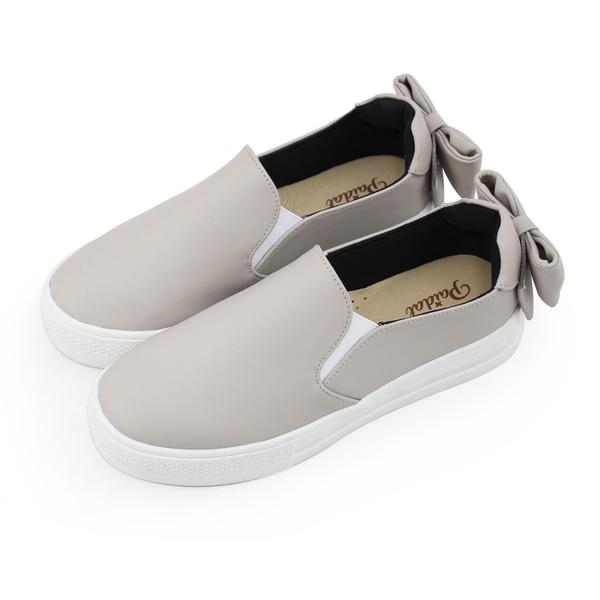 Paidal 奶茶色優雅立體蝴蝶結懶人鞋厚底休閒鞋