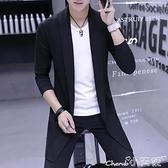 風衣外套 2021新款男士風衣中長款韓版學生修身帥氣披風春秋季外套針織大衣 小天使