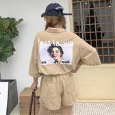 運動休閒套裝夏裝女裝寬鬆五分袖T恤短袖上衣 闊腿短褲兩件套   伊鞋本鋪