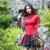 新款民族風印花長袖針織衫修身顯瘦女上衣T恤