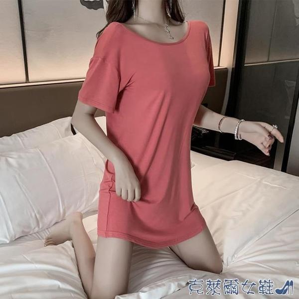 睡裙 莫代爾睡衣女夏純棉短袖可愛露背性感春秋家居服睡裙網紅爆款紅色 快速出貨