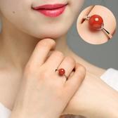 天然涼山南紅瑪瑙戒指女款鑲嵌南紅寶石戒指開口指環飾品