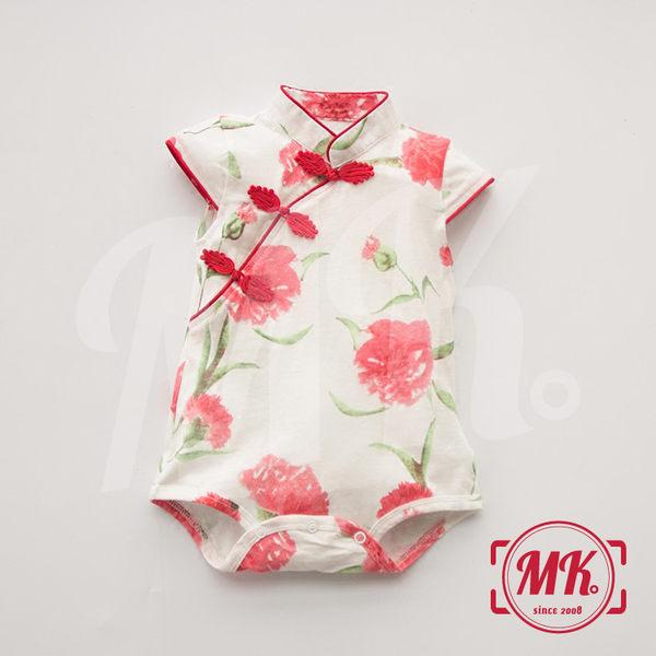 【降價出清】可愛寶寶 女童短袖旗袍 碎花中國風 無袖洋裝 純棉盤扣 女嬰 小女孩 包屁衣 連身裝