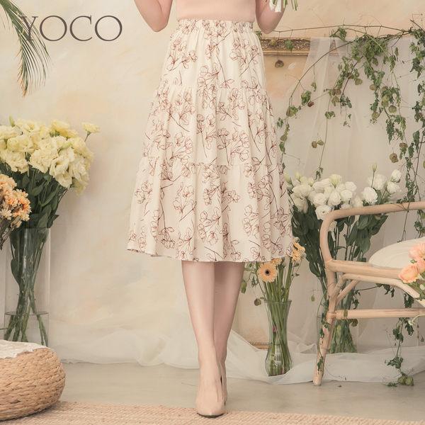 東京著衣【YOCO】YOCO-質感印花腰鬆緊層次蛋糕裙-S.M.L(190580)