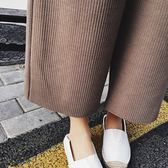 七分褲 素色 麻花 螺紋 寬褲 側口袋 七分褲 長褲【YF909】 BOBI  09/13