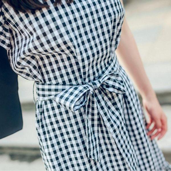 涼感上衣閨蜜衣V領中長款格子洋裝版女裝飛飛袖收腰顯瘦荷葉邊裙潮