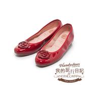 Fair Lady我的旅行日記 經典交錯菱扣漆皮圓頭平底鞋-增高版 櫻桃紅