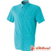 Wildland 荒野 0A51208-47藍綠 男彈性格子布短袖襯衫 彈性纖維/細格紋/輕薄透氣排汗衣/格子襯衫
