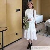 秋冬季女裝2019年新款白色洋裝仙氣長袖甜美氣質內搭打底裙子潮  韓慕精品