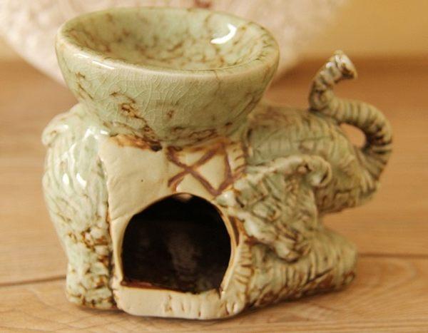 [協貿國際]陶瓷大象精油香薰燭台單個價