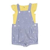 【北投之家】女寶寶吊帶褲套裝 吊帶短褲+蝴蝶袖T恤 二件組 藍直條 | Carter s卡特童裝 (嬰幼兒)