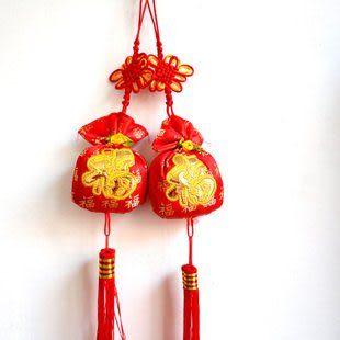 新年用品 中國結五福臨門香包掛件 新年裝飾品 31g三串價