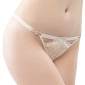 思薇爾-流金巴洛克系列M-XL蕾絲低腰丁字褲(奶香黃)