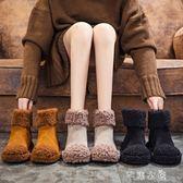 雪地靴女羊捲毛毛鞋保暖加絨棉鞋女冬季平底短靴子潮女鞋 芊惠衣屋