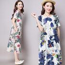 2016夏裝女裝新款大碼短袖植物印花色寬鬆棉麻透氣柔軟舒適連衣裙  酷3C