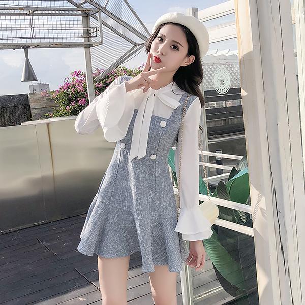 VK旗艦店 韓系蝴蝶結雪紡喇叭袖荷葉邊假兩件長袖洋裝