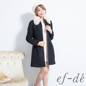 【ef-de】激安 貴族風可拆卸毛領混羊毛外套(黑)