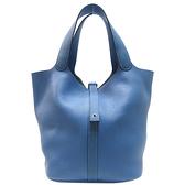 HERMES 愛馬仕 Picotin 26 2T Bleu Paradis 天堂藍牛皮手提水桶包 菜籃包 T刻 (無鎖頭) 【二手名牌BRAND OFF】