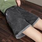 大碼松緊腰牛仔短褲女寬鬆胖mm褲子夏薄款顯瘦彈力高腰闊腿四分褲