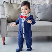 連身衣 小紳士連體衣 男寶寶兔裝 翻領前開襟假兩件包腳爬衣 Augelute 82006