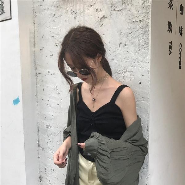 VK旗艦店 韓國風時尚復古修身顯瘦時尚小心機吊帶針織衫