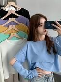 長袖上衣 早秋2021新款設計感薄款寬鬆長袖T恤女裝ins高腰短款露臍上衣服潮 韓國時尚週