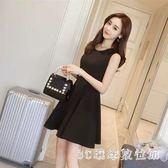背心裙 女裝新款修身顯瘦洋裝氣質赫本小黑裙高腰背心裙短裙子LB13058【3C環球數位館】