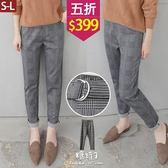 【五折價$399】糖罐子格紋腰帶口袋長褲→黑灰 預購(S-L)【KK6222】