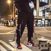 大碼嘻哈褲子男潮流飄帶工裝褲直筒束腳潮褲【左岸男裝】