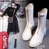 馬丁靴女2021年新款前拉鏈中筒靴內增高網紅瘦瘦鞋短靴春秋單靴