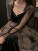 網紗連身裙   新款法式復古網紗拼接連身裙女冬性感晚禮服收腰打底裙