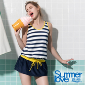 【Summer Love 夏之戀】亮麗條紋連身裙二件式泳衣(S19726)